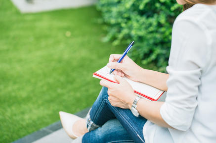 Student Writing At Park, Working Outdoor Women Work Business Job - Susi Lodola Counselling