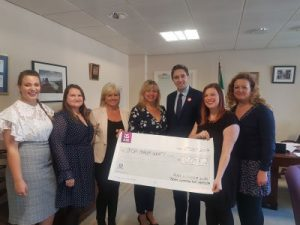 Meeting At Minister Harris's Office and Handing Over Funds Raised for The Irish Cancer Society - Susi Lodola Counselling